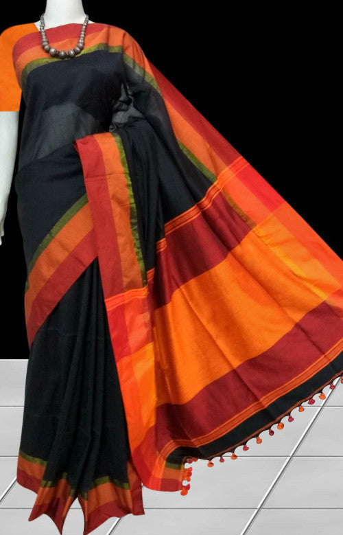 Black Color Base cotton hand finished saree