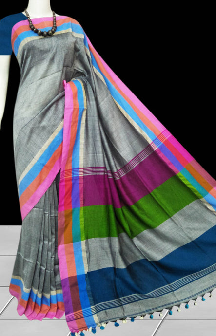 Classy gray color cotton hand finished saree