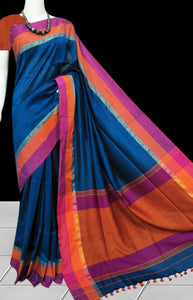 Cotton finished saree in traffic blue body