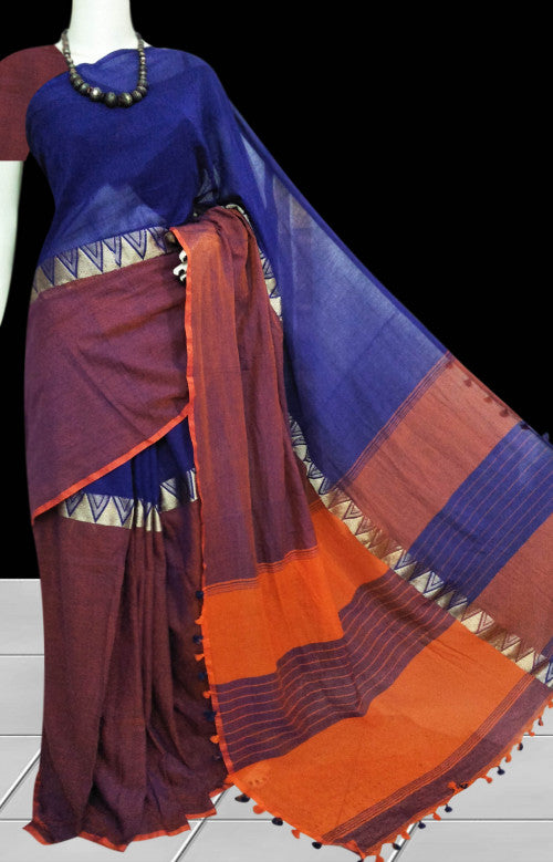 Cotton hand finished saree in an elegant combination of brown & blue body, decorated with resham silk thread