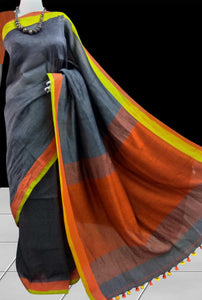 Multiple Color Linen Saree