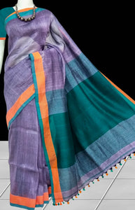 Graceful purple linen cotton handloom saree