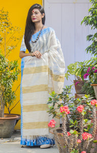 Ghicha Cotton Silk saree with Nayal Work