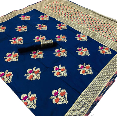 Navy Blue base Kalawati Silk