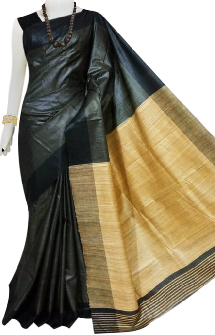 Zed Black & Golden Tusser with staple silk saree
