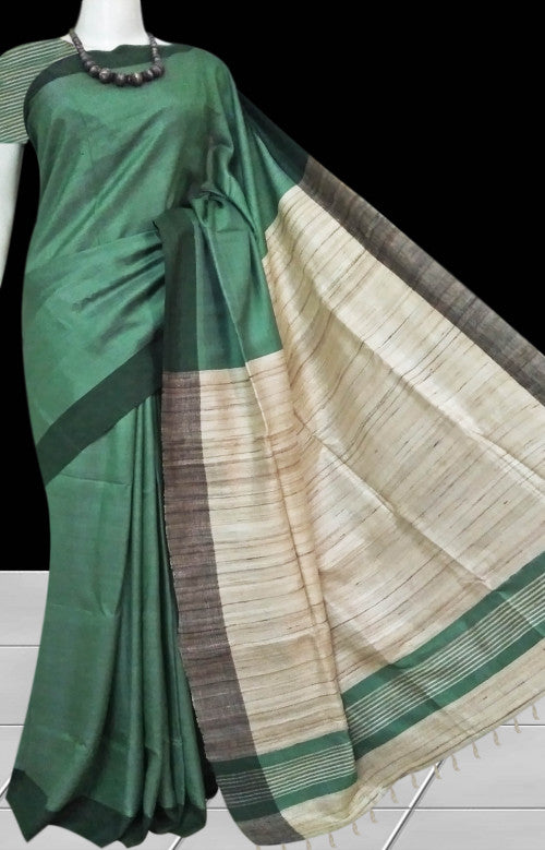 Double tone shade tussar with staple silk saree