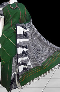 Dark Green Khesh cotton Mulmul saree