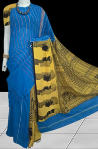 Blue Khesh cotton Mulmul saree