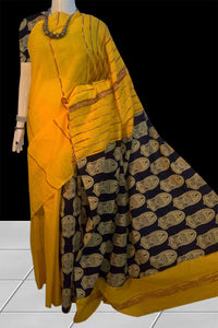 Yellow Khesh cotton Mulmul saree