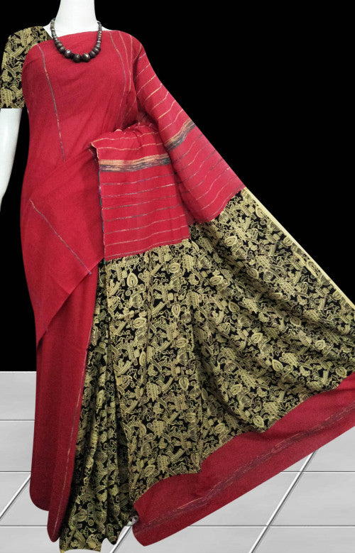 Red handwoven Mulmul Cotton Handloom Saree with Khesh work