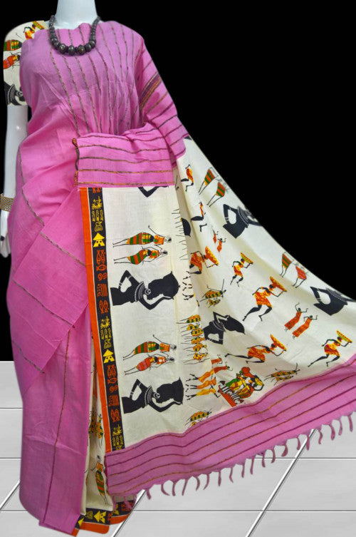 Pink Khesh Mulmul cotton Saree