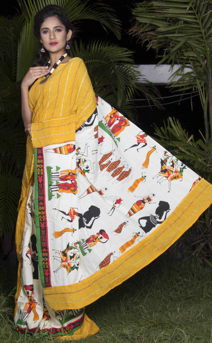 Bright turmeric yellow color mulmul khesh cotton handmade saree