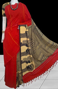 Red color mulmul khesh cotton handmade saree