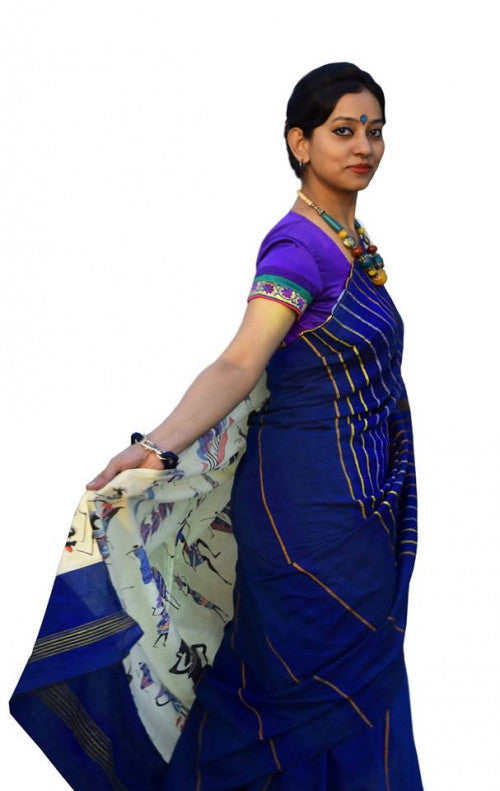 Blue Colour Mulmul Cotton Handloom Khesh Saree