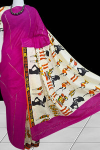Dark Pink Khesh cotton Mulmul saree