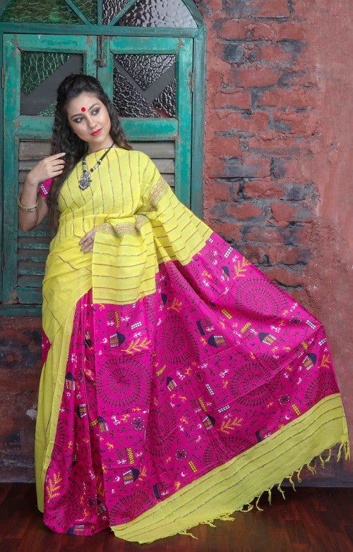 Bright yellow color mulmul khesh cotton handloom saree