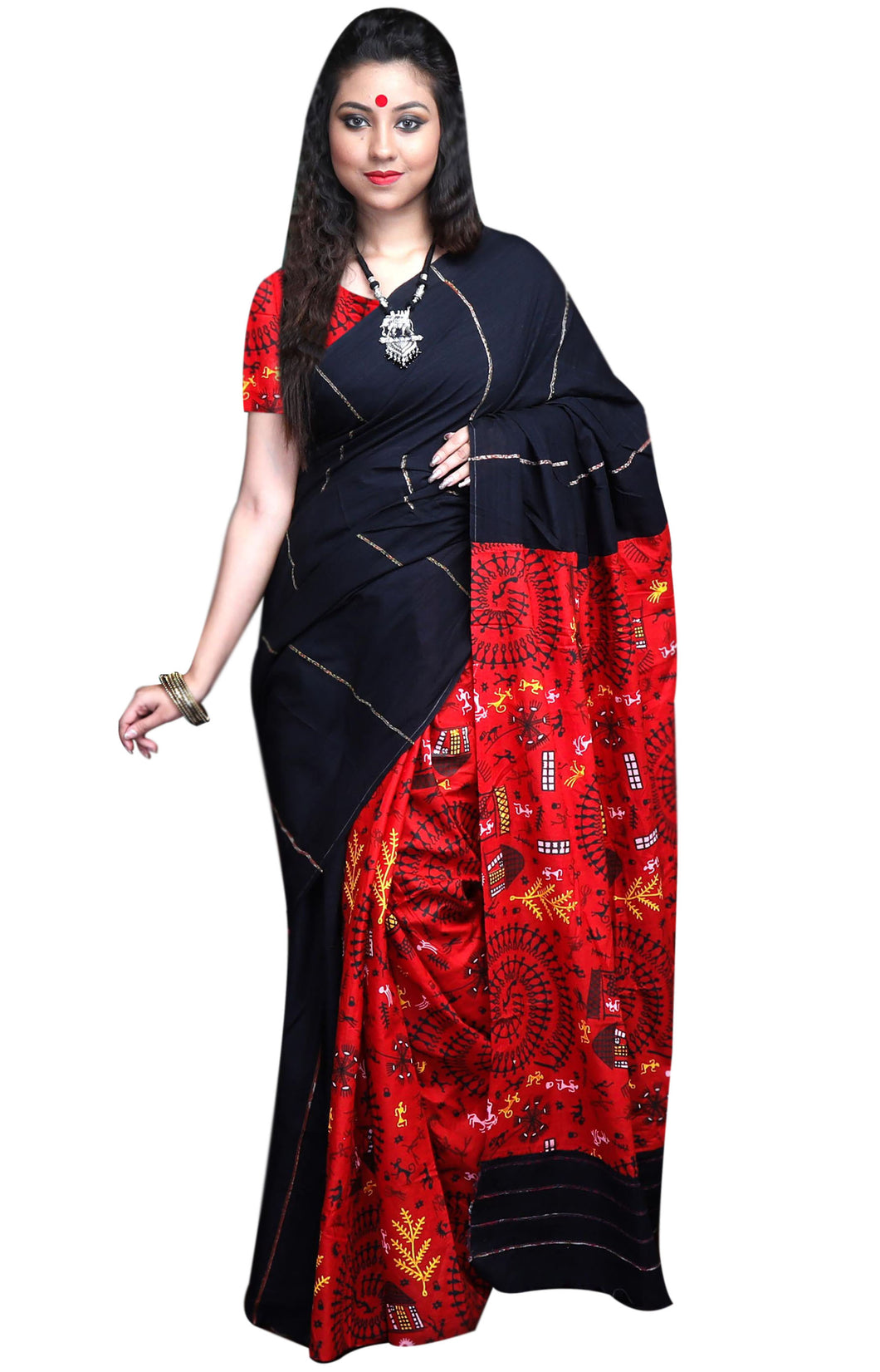 Elegant black color mulmul cotton handloom saree with khesh