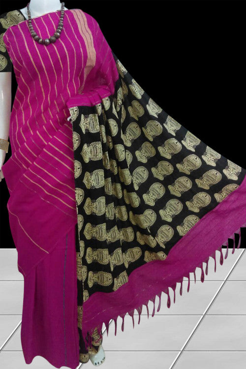 Trendy magenta color mulmul khesh cotton handloom saree