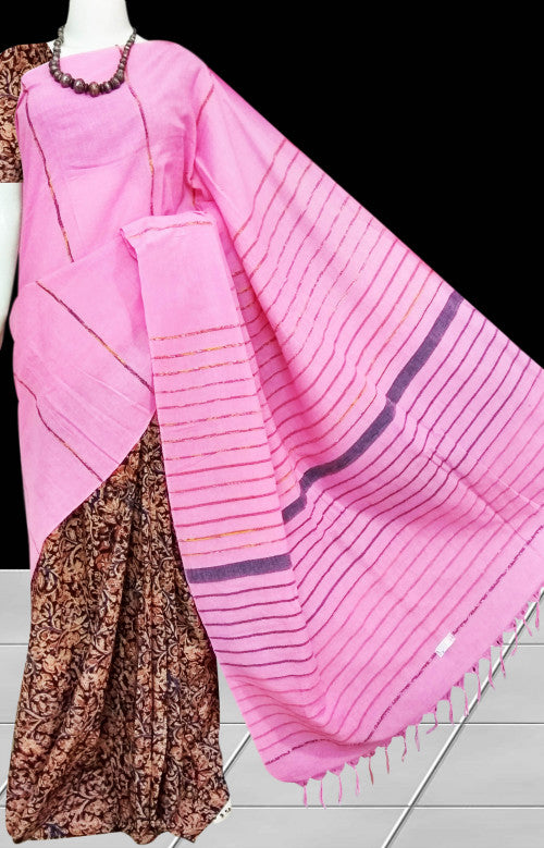 Pink handwoven Mulmul Cotton Handloom Saree with Khesh