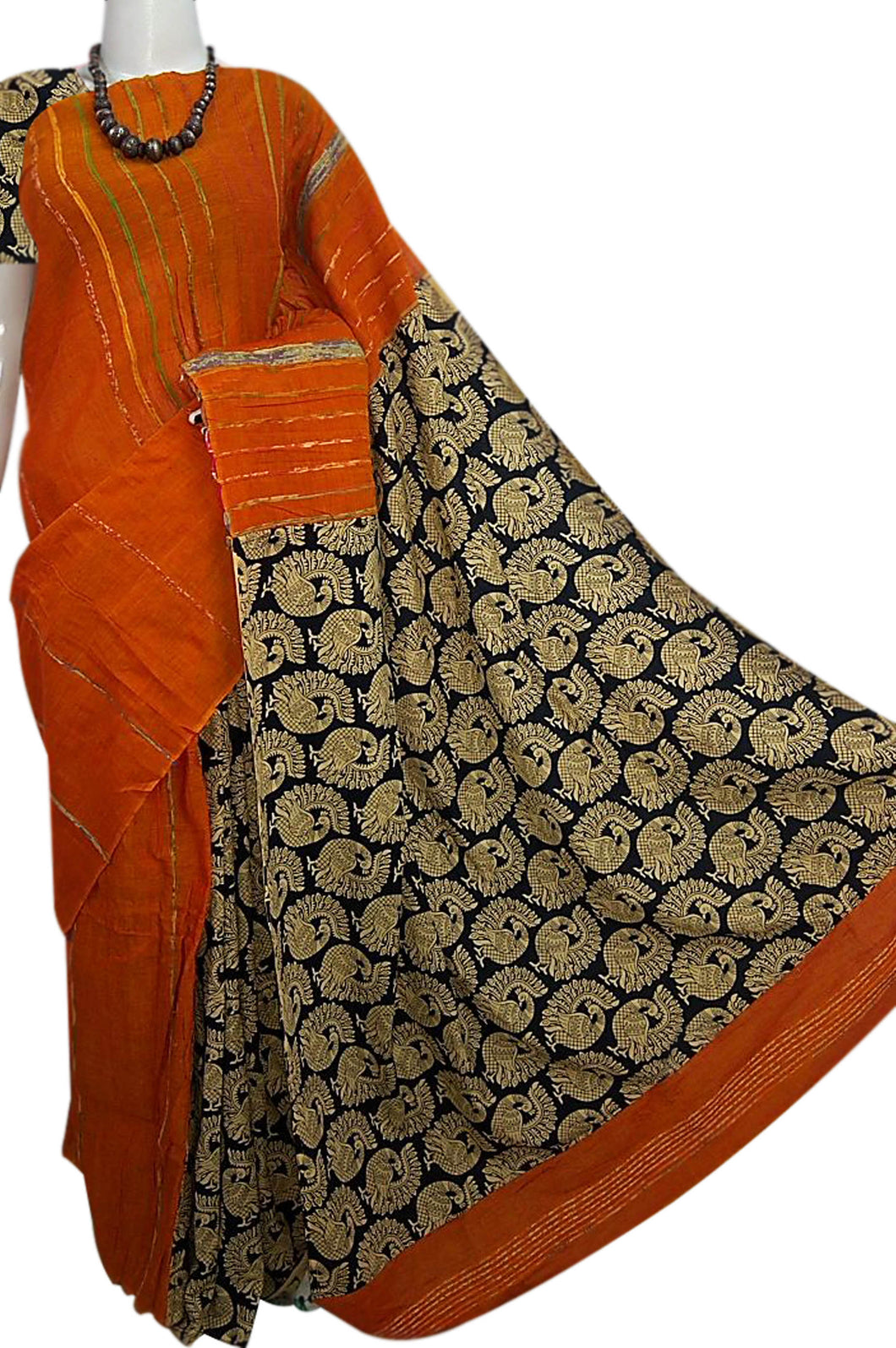 Orange Khesh cotton Mulmul saree