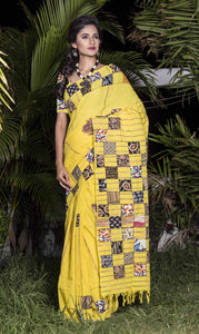 Stunning Yellow mulmul cotton saree with applique work