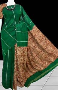 Green handwoven Mulmul Cotton Handloom Saree with Khesh work