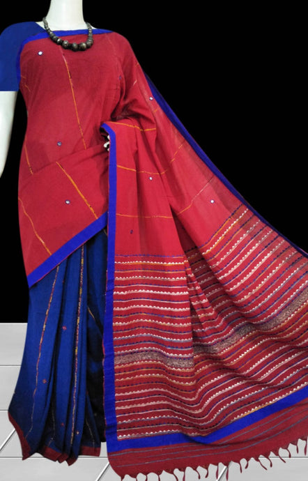 Blue body mulmul cotton saree , beautified with khesh embroidery