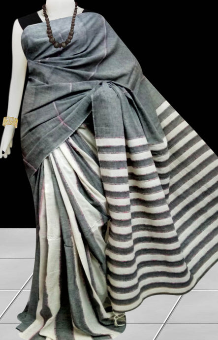 Grey color mulmul cotton handloom khesh saree