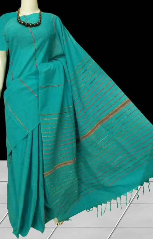 Indigo blue mulmul cotton handloom saree with Khesh