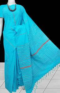 sky blue mulmul cotton handloom saree with Khesh