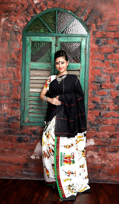 Delightful black mulmul cotton handloom saree with Khesh