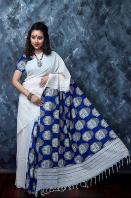 Mulmul cotton saree with khesh, featured with Budhha print