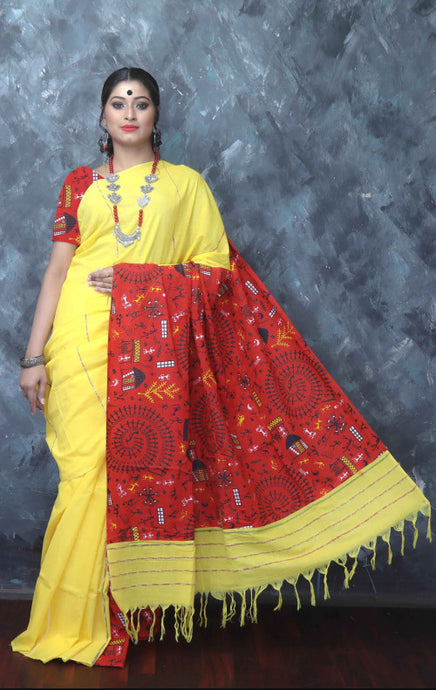 Bright yellow color mulmul cotton handloom saree with khesh