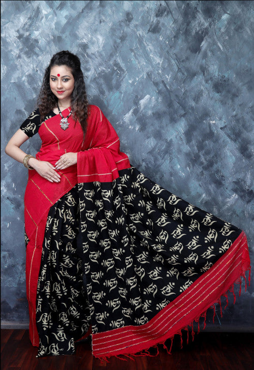 Stylish red mulmul cotton handloom saree in khesh work