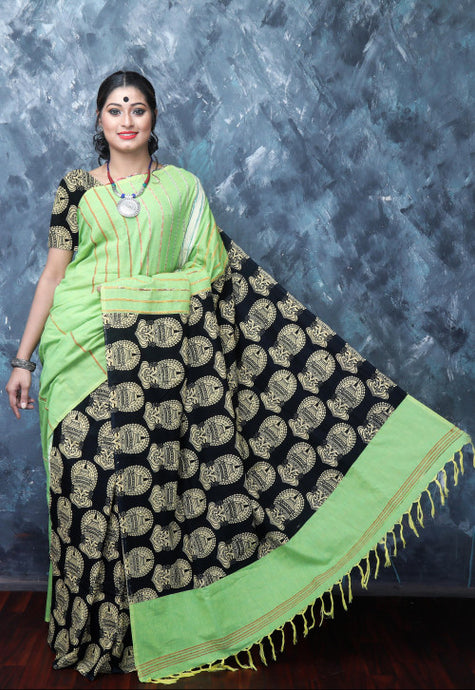 Exquisite light olive green mulmul cotton khesh Handloom Saree