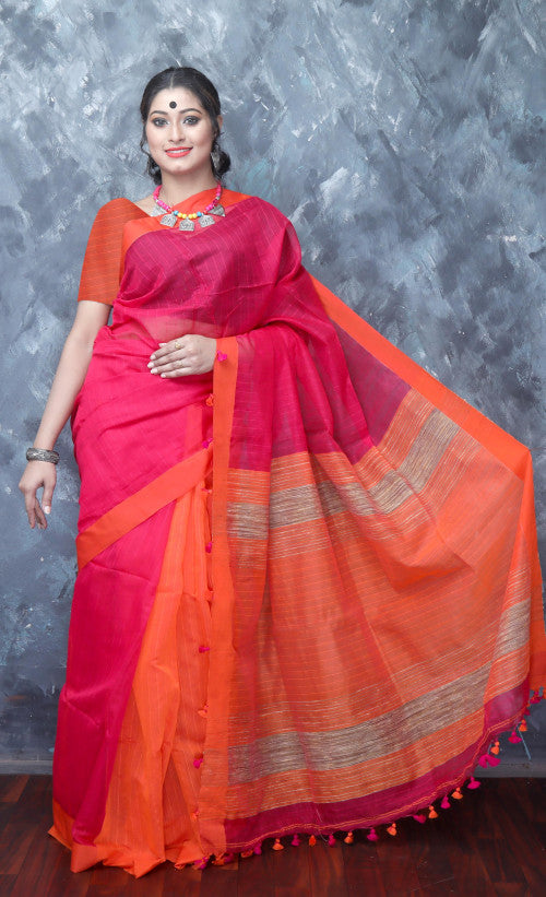 Pink & orange cotton silk handmade saree with ghicha work on pallu