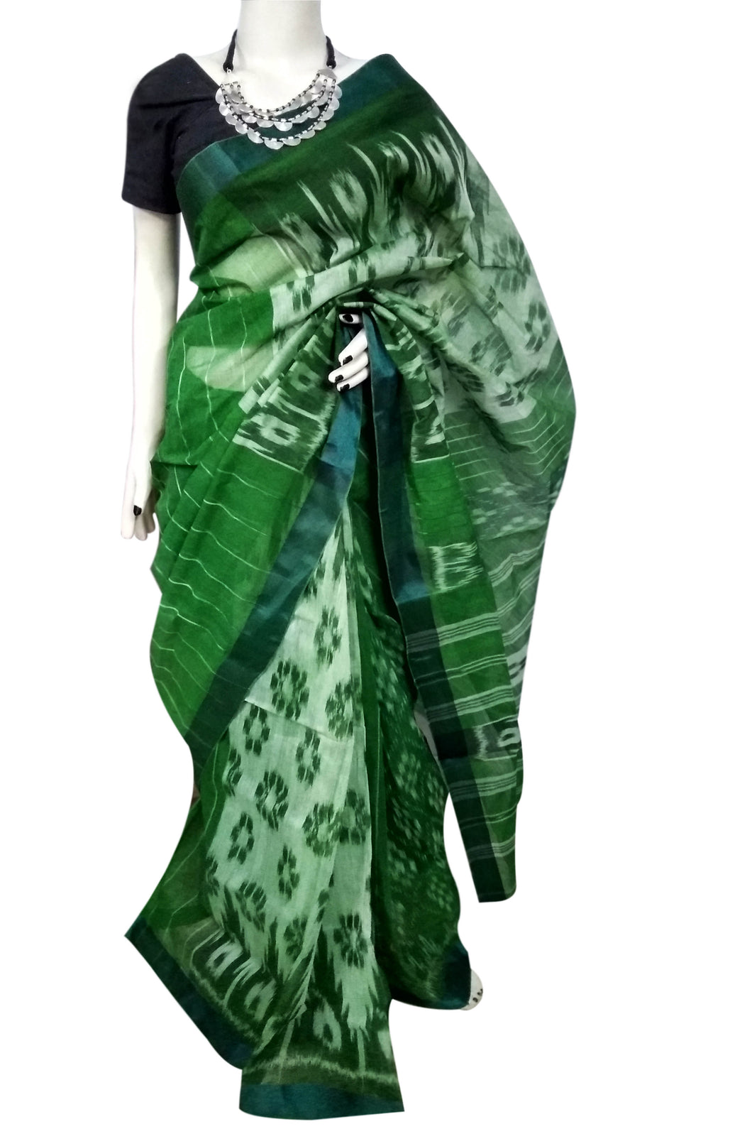 Beautiful Traditional Green Cotton Tant Saree