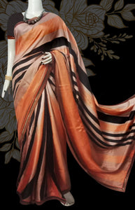 orange peach and rose color combination Satin saree