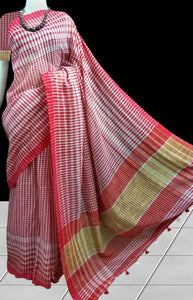 Cotton saree in a smart combination of red; maroon; white checks