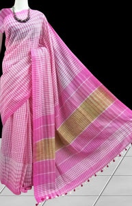 Cotton saree in a refreshing combination of pink; white checks