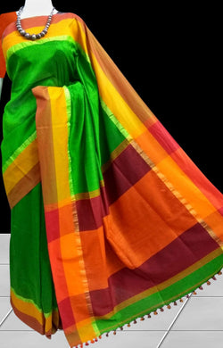 Cotton hand finished saree in the vibrant green & multi color stripe