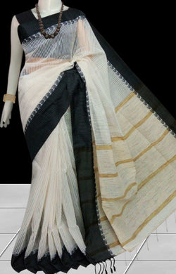 Delightful white cotton silk saree, black nayal border