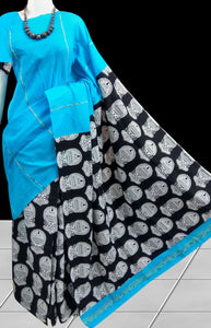 Decent sky blue mulmul cotton khesh handloom saree