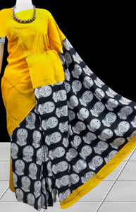 Charming yellow mulmul cotton khesh saree
