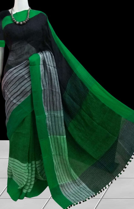 Black Green Color Linen Saree