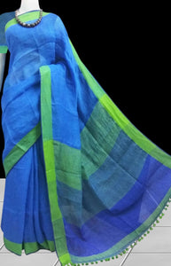 Ocean Blue Color Linen Saree