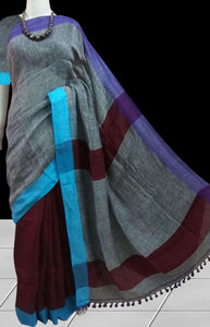 Multi Colour Linen Cotton Saree