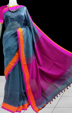 Linen cotton handloom saree