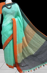 Linen handloom saree in a refreshing combination of Sea foam color