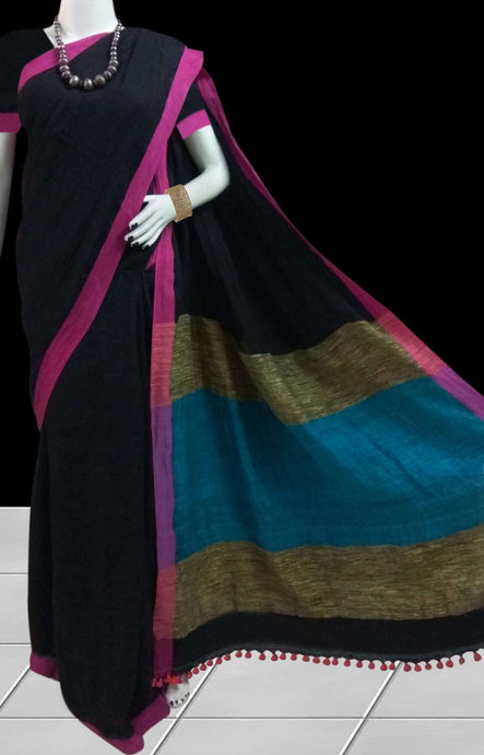 Metallic Black Linen Cotton Handloom Saree
